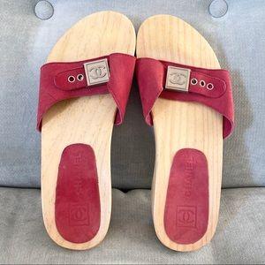 CHANEL Vintage Red Suede Wood Sandal Clogs 6/36